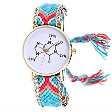 Women Chemical Element Knitted Weaved Rope Band Bracelet Quartz Wrist Watch LB