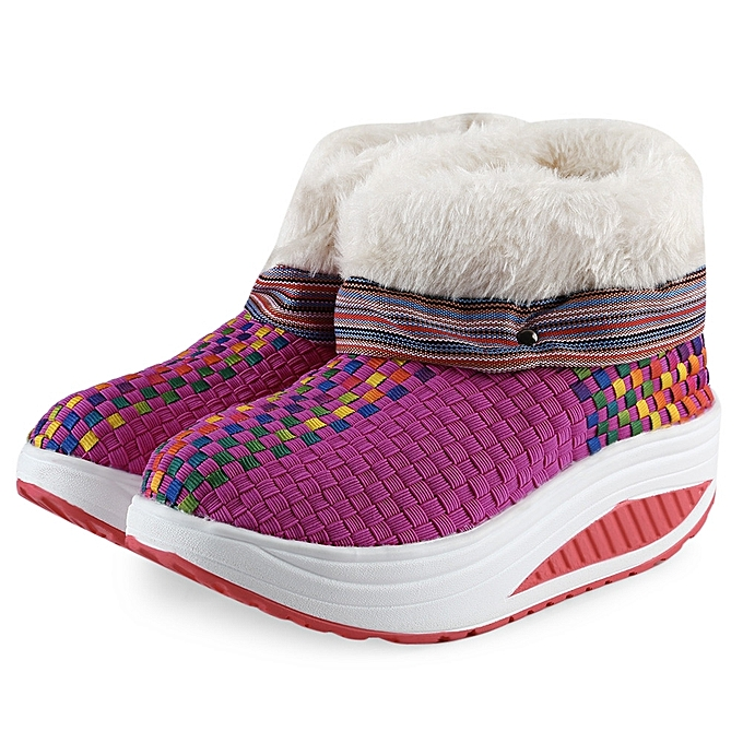Fashion Casual Color Block Knitting Warm Platform Snow Boots for ... 1b0ed1363b