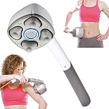 New Multifunctional Electric Massager Dolphin-shape Neck Massage Hammer Vibration Body Massage Stick Roller Cervical (White)