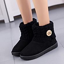 Xiuxingzi_Fashion Women Flat Ankle Knitting Wool Boots Winter Warm Snow Shoes