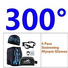 Men's 5 Pecs Myopia Goggles + Cap + Earplugs + Nose Clips + Bag + Swimming Pant(Size:300°)