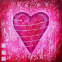 Canvas Print Still Life Wall Picture 40X40cm Rolled -  Heart Pink