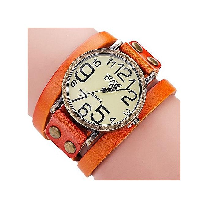 Blicool Wrist Watch CCQ Brand Vintage Cow Leather Bracelet Watch Men Women Wristwatch Quartz OR-