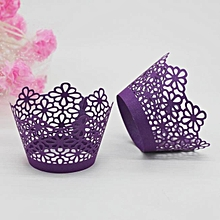 New! Lace Laser Cut Cupcake Wraer Liner Baking Cup Muffin -Purple