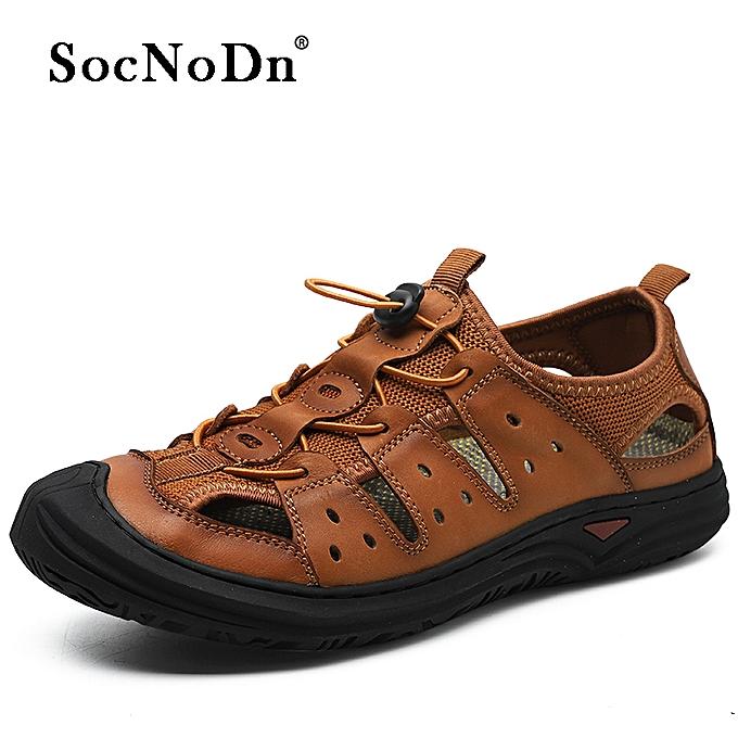 1ba4292a2 SocNoDn Men Fashion Summer Casual Beach Sandals Hollow Shoes Brown ...