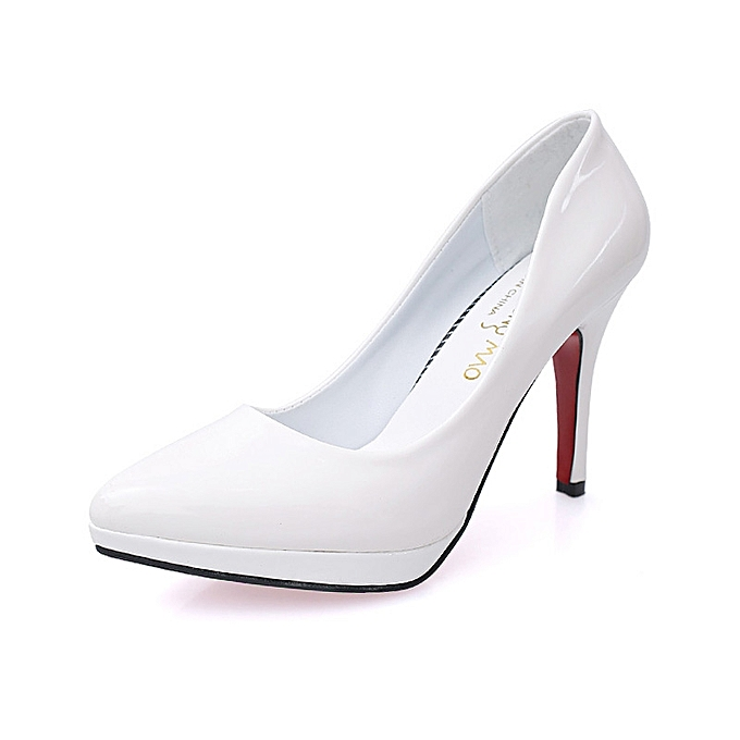 facea4cef3f 10cm Pointed Toe Formal Thin Heels Pumps Women Shallow Sex High Heels  Patent Leather Wedding Shoes
