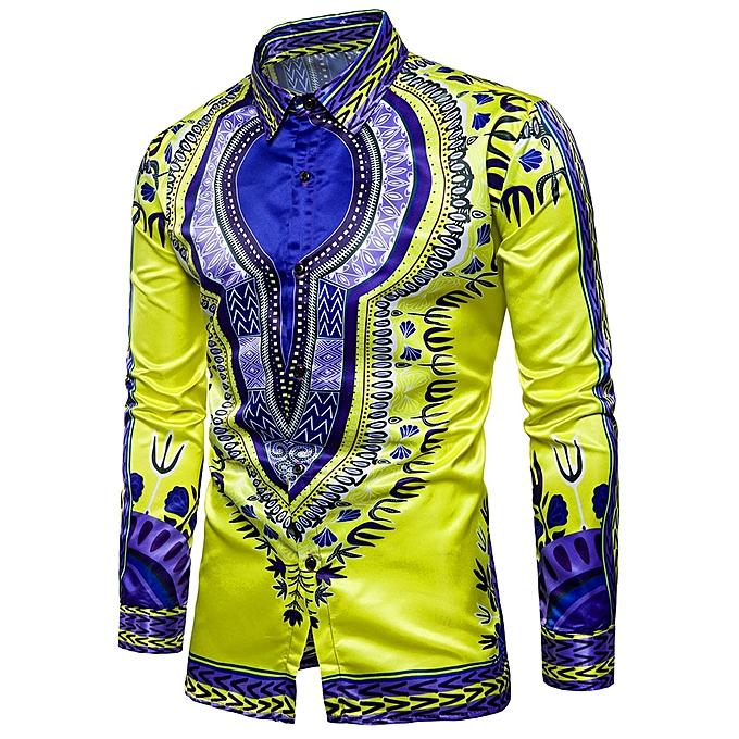 Men Trendy Tribal Print Color Block Shirt