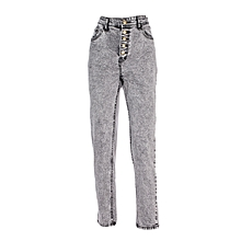 Grey Women's Jeans With Front Buttons