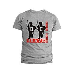 Grey Be Brave T- shirt Design