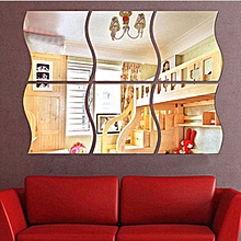 6 PCS Removable Wave Home Acrylic Wall Mirror Sticker Art Decor Decal Plastic