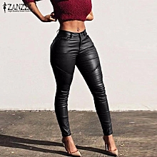 ZANZEA Women Long Pants PU Leather Bodycon Skinny Pencil Slim Leggings Trousers