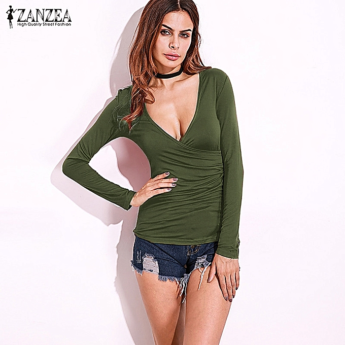 b704ec2ef7 UK Womens Long Sleeve Deep V Neck Plunge Pleated Slim Cotton Top Blouse T- Shirt