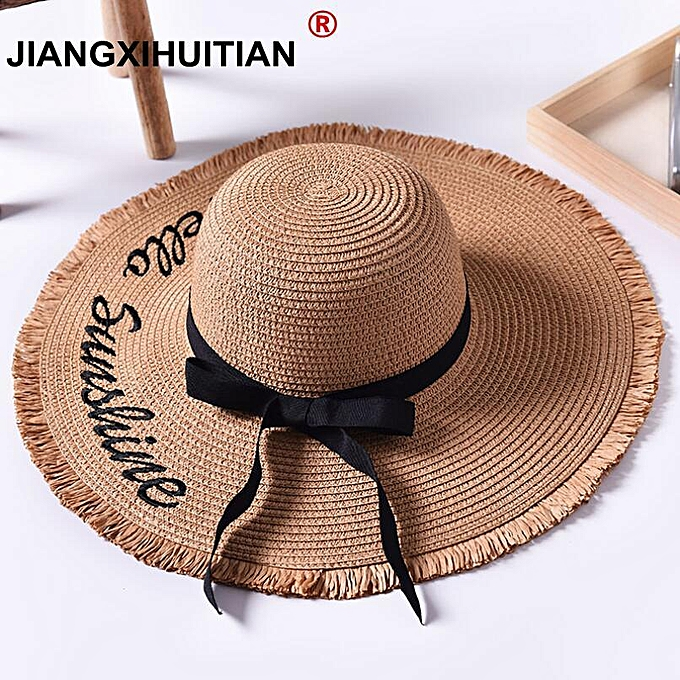 21d111e9 Handmade Weave letter Sun Hats For Women Black Ribbon Lace Up Large Brim  Straw Hat Outdoor