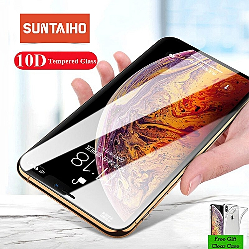 10D for iPhone 7 6S 8 X XR XS Tempered Glass for iPhone XR XS Max Screen  Protector Edge Full Curved Anti-Explosion film(Color black) GTI