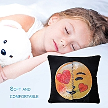 Cute Changing Face Emoji Pillows Cover Sequin Pillow Smile Face Pillowcase