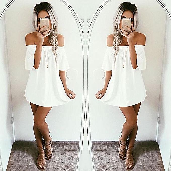 c62b2942ea Summer Women Sleeveless Dress Casual Party Evening Cocktail Short Mini  Dress Off Shoulder Lady Dress -