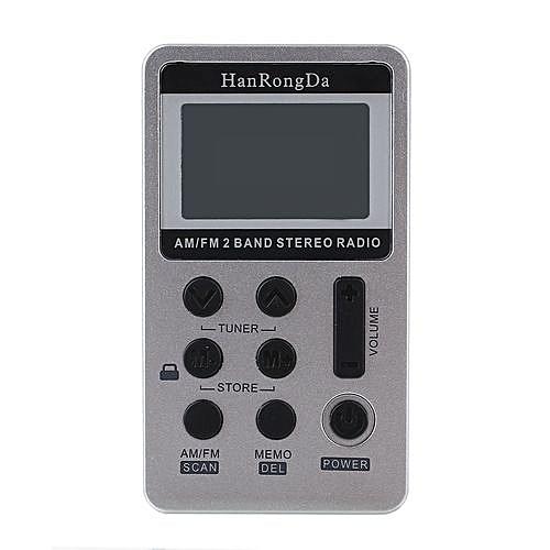Pocket DSP Digital Display Rechargeable Radio FM AM 2Bands Receiver HRD-103  DC5V