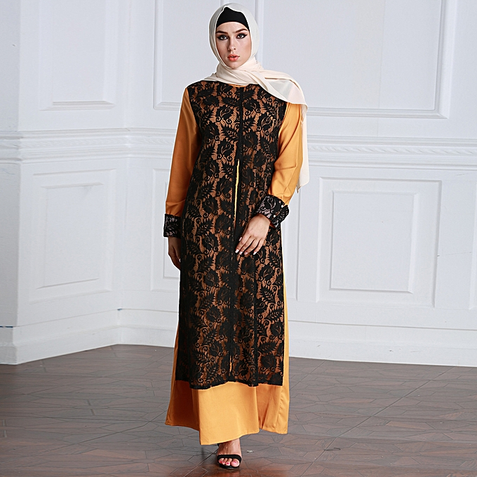 4b0455f89d88b Fashion Women Muslim Dress Lace Splice Long Sleeve Abaya Kaftan Islamic  Arab Robe Maxi Long Dress Yellow