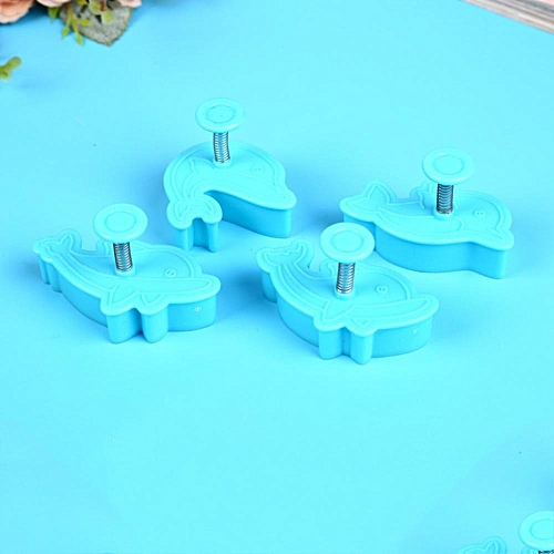 Generic 4PC Set Dolphin Shape Plastic Cookie Cutter Fondant Cake Tools Sugar Biscuit Candy Moulds For DIY Decorating