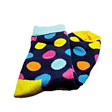 Navy Blue Cotton Polka Furaha Socks