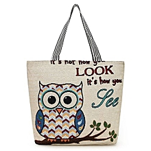 Owl Embroidered Canvas Tote Bag - Beige