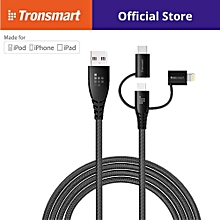 Tronsmart LAC10 3in1 Cable Apple Lighnting(MFi Certified) &MicroUsb & Type C cable 1.2m - Black QTG-W