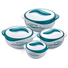 4 Piece Hot Pot  Food Server Insulated Casserole Gift Set - Blue & White