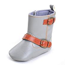 Toddler Newborn Baby Boy Girl Crib Boots Soft Sole Boots Prewalker Warm Shoes- Gray