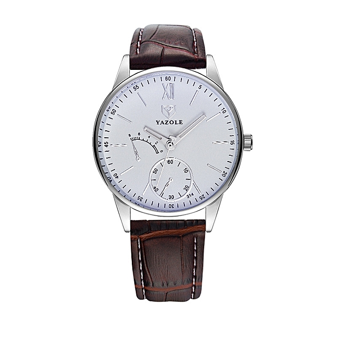 04b381f7a58d3 Fashion Simple Business Men Watch Waterproof Leather Band Quartz Watch 314  Brown White