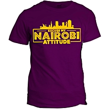 Nairobi Attitude Purple Printed T-Shirt Design