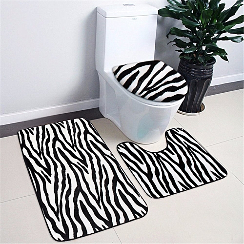 3pcs Mix Animal Print Toilet Cover Set Bathroom Mat Rug Carpets Lid