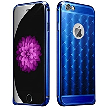 IPhone 6/6S 4.7inch Luxury Brushed Aluminum Grid Metal & PCHard Case For Applefor Iphone6 Mobile Phone Back Cover (Color:Blue)