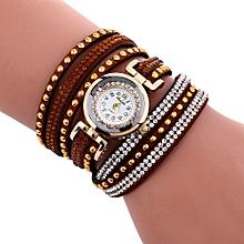 Lady  Leather Wrist Watch Fulaida Fashion Chimes Diamond Leather Bracelet Lady Womans Wrist Watch-Brown