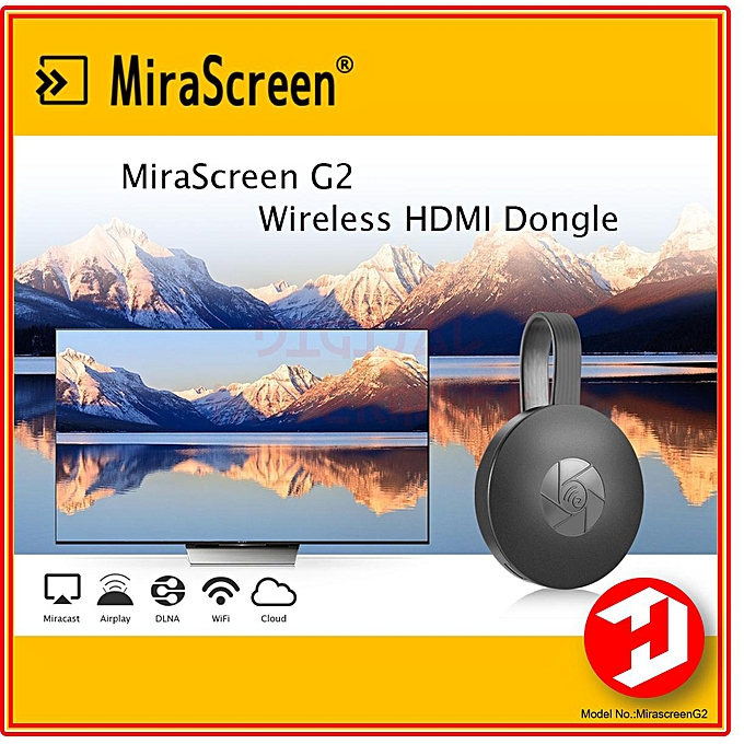 Mirascreen G2 Wireless WiFi Display Dongle Receiver 1080P HD TV Stick iOS12  Airplay Android Miracast Media Streamer Adapter Media for Phone TV (Black)