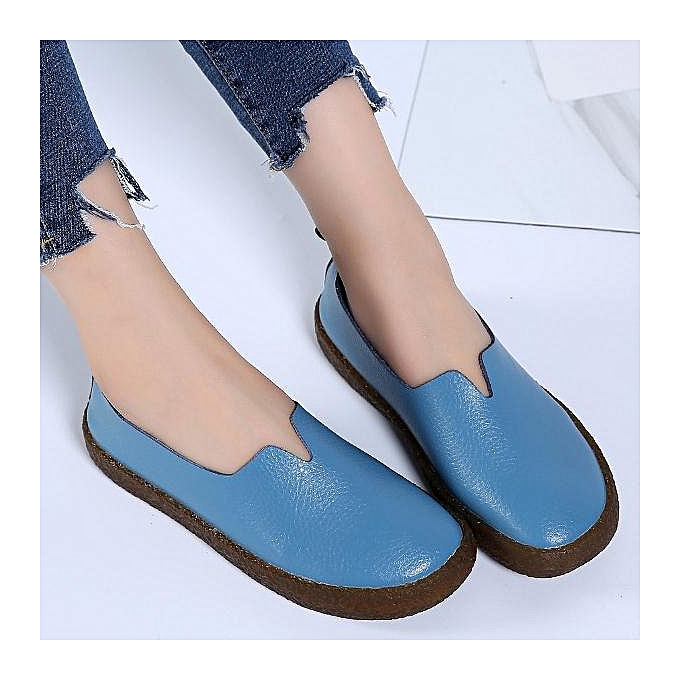 62e4aa230fe ... Fashion Large Size Soft Leather Vintage Flat Boat Shoes Loafers For  Women ...