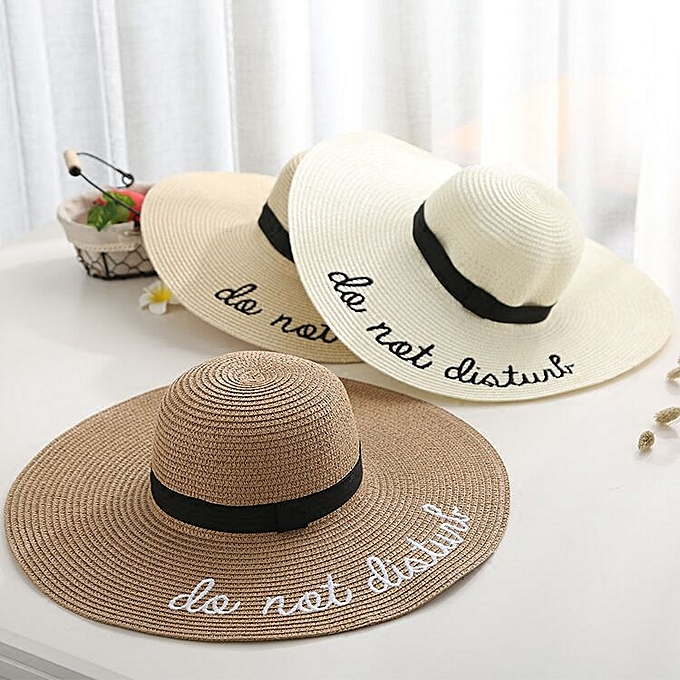 3d2600ef5d197c ... new letter embroidery cap Big brim Ladies summer straw hat youth hats  for women Shade sun