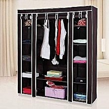 Portable Wardrobe- 3 Columns- Brown