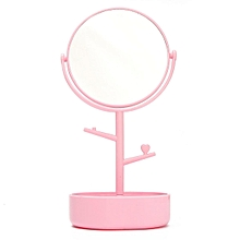 Desktop double-sided cosmetic mirror cosmetic receiving box jewelry hanging rack 360 degree rotary dressing mirror