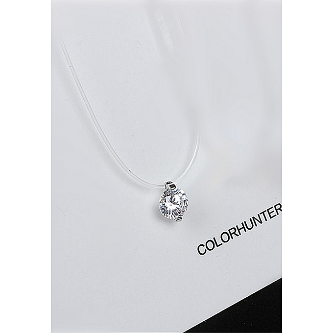 cac11febc8252f Japan and South Korea Simple Transparent Fish Line Necklace Female Flash  Diamond Zircon Joker Single Diamond