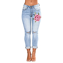 Women Embroidery High Waist Ripped Cuff Holes Jeans Skinny Denim Pants - Blue