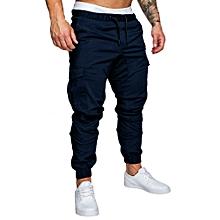 Men Sweatpants Slacks Casual Elastic Joggings Sport Solid Baggy Pockets Trousers A1