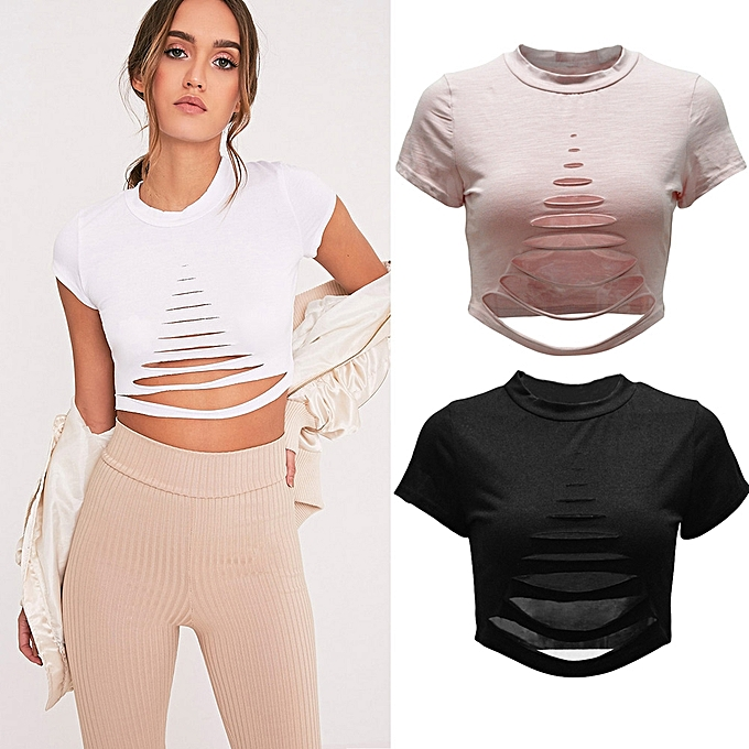7b75c44a939 Sexy Women Ripped Holes Crop Top Hollow Out T-Shirt Short Sleeves Cropped  Top Shirt