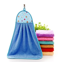 Hand Towel Soft Plush Hanging Wipe Bathing Towel Blue