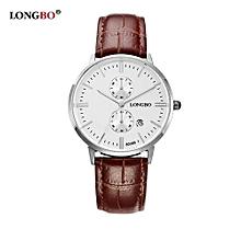 80086 Fashion Men Analog Quartz Date Calendar Watch Leather Strap Waterproof Business Couple Wristwatch for Men - Bright brown