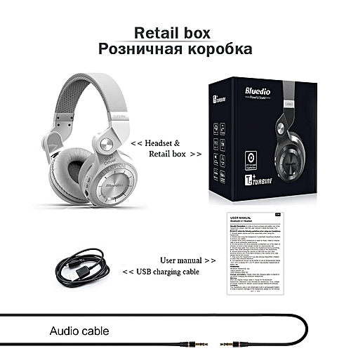 cddf47b1e6c Generic Bluedio T2+ Bluetooth Headphone Over-Ear Wireless Foldable  Headphones with Mic BT 5.0 FM Radio SD Card Headset(White retail box)