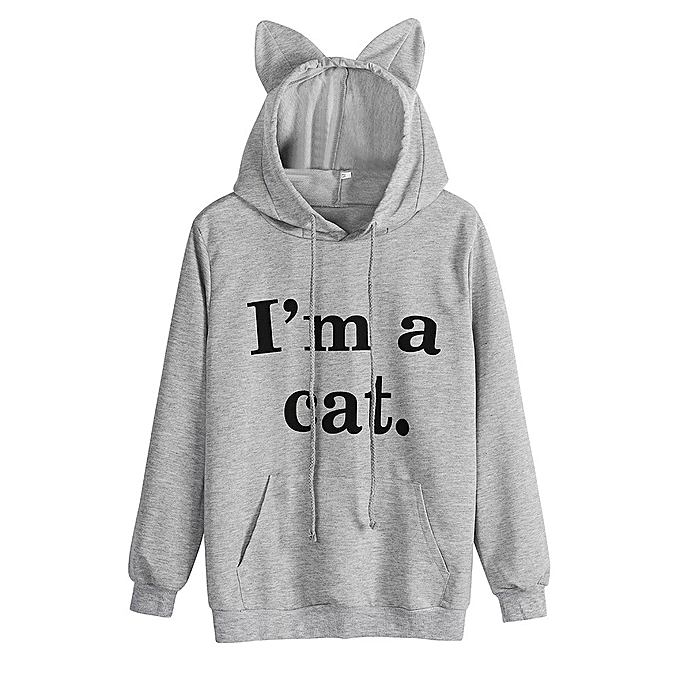 Xiuxingzi Womens Cat Long Sleeve Hoodie Sweatshirt Hooded Pullover Tops  Blouse GY M 08f0fbe813
