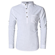 MrWonder Men's Casual Slim Fit Henley Neck Long Sleeve Linen Shirt Color:White Size:XL