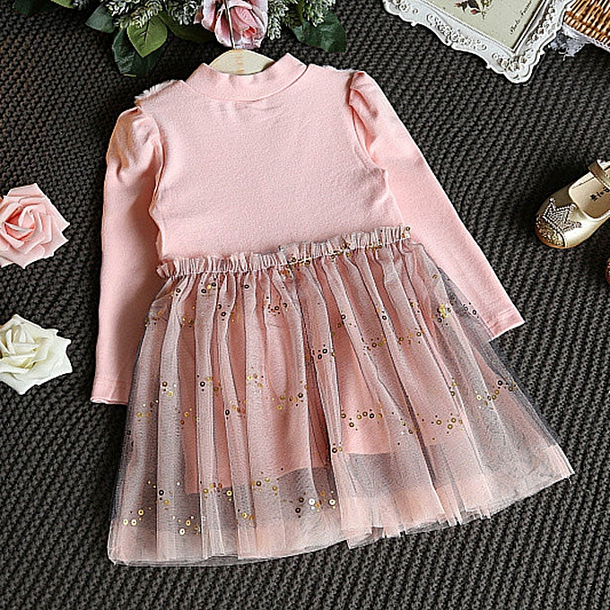 cffa0264fce12 ... Toddler Kids Baby Girl Winter Clothes Bowknot Pullovers Patchwork  Princess Dress ...