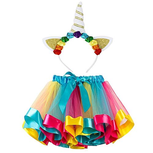 a98f6299b4301 Little Girls Layered Rainbow Tutu Skirts Unicorn Horn Flower Headband  Birthday Party Costume