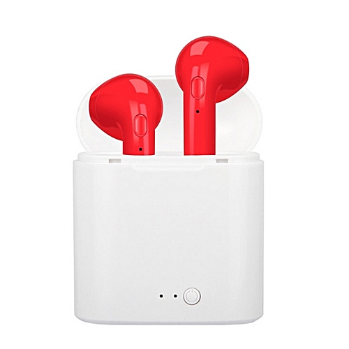 af052025a2a i7 I7 Wireless Dual Bluetooth In-Ear Bluetooth Headset - Red @ Best ...